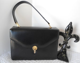 Mid Century Black Leather Kelly Girl Box Style Mamselle New York Original Handbag