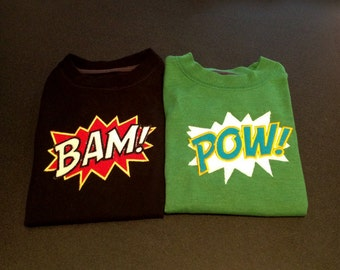 BAM and POW exclamation machine applique designs - cool superhero machine applique design for your kid with super powers.