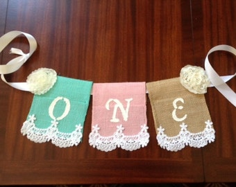 Baby's First Birthday High Chair Banner; Burlap banner, Shabby Chic, Burlap, Lace and Ribbon