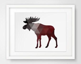 Moose Decor, Moose Art, Red Wall Art, Geometric Animal Prints, Moose Decorations, Moose Wall Art, Red Wall Prints, Red Artwork, Moose Art