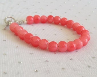 Pink Coral Bracelet, Pink Coral Wedding Jewelry, Coral Bracelet, Bridesmaid Jewelry, Pink Coral Bridesmaid Bracelet, Pink Coral Bracelet