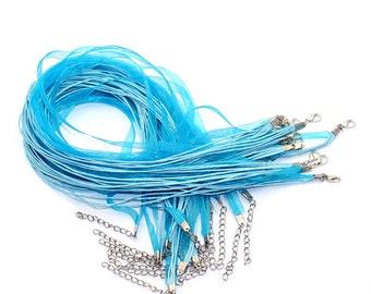"20 pcs - Turquiose 2 toned -  Blue Organza Silk Ribbon Cord Necklace 18"" plus 2"" extension - Zebra Silk Ribbon cord necklaces"