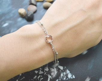 Double layered champagne bracelet, Add on personalized initial leaf C-045
