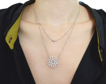 White gold layered lace necklace A-170