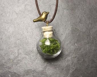 MOSS ball bird necklace pendants made of glass