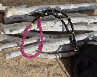 Black spinell  Necklace with Garnet   (JK 587)