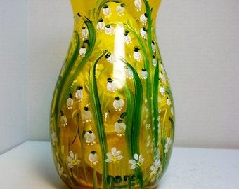 A Vintage Amber Yellow Glass Vase Hand Painted Original Design of a Folk Art, My Garden