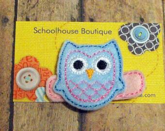 Light Blue Owl Felt Hair Clips - Felties - Feltie Hair Clip - Felt Hair Clips - Felt Hair Clippie - party favor