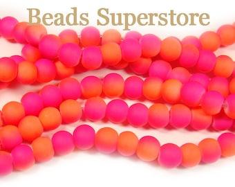 SALE CLOSEOUT 6 mm Two Tone Fluorescent Neon Pink Orange Round Bead - 50 pcs