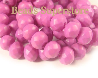SALE CLOSEOUT 10 mm x 8 mm Neon Lilac Faceted Rondelle Crystal Bead - 27 pcs