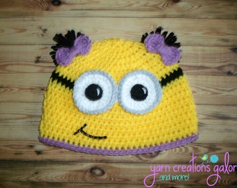Girl Minion Hat--2 Bow Pigtails