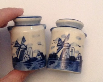 Salt and Pepper Shakers - Delft Blue Collectible Vintage