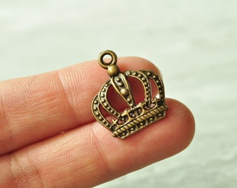 15pcs Antique Bronze Crown Charm Pendant 24x20mm PP275