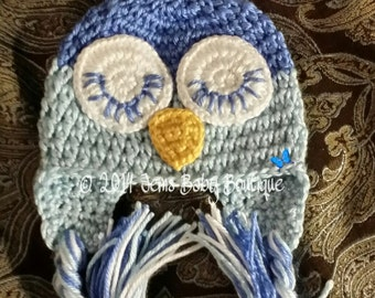 Adorable sleepy Owl Crochet  Hat,  Newborn Photo Prop Beanie, Made to Order