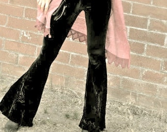 BLACK VELVET 70'S velour fashion hippie chic boho dance yoga festival burning man gypsy bell bottom flares