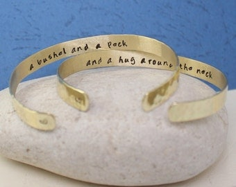 A BUSHEL and a PECK and a hug around the neck bracelets - Gold / Brass Bangles - Hand Stamped Cuff..