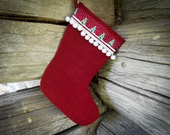 Christmas Stocking Christmas Gift Personalized Stocking Christmas Decor Holiday Decor Burlap Christmas Ornament Scandinavian Christmas