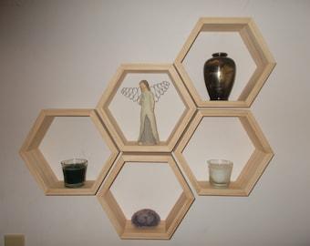 Set of 5 Hexagon Shelves