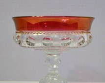 Vintage Tiffin Kings Crown Thumbprint Ruby Red Flashed Glass Footed Compote PanchosPorch