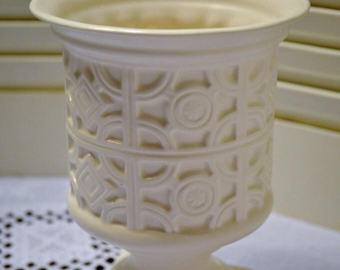Vintage White Ceramic Planter Napcoware Geometric Design PanchosPorch