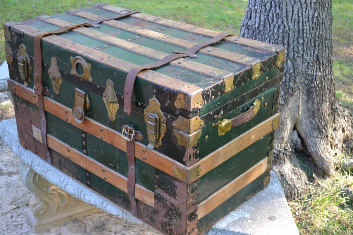 Antique Steamer Trunk Metal Covered Wood Green Wood Trim