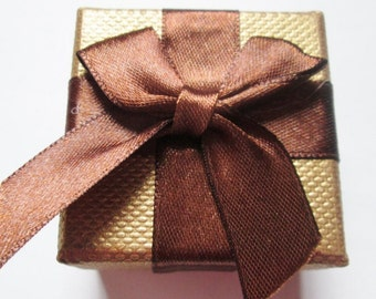 Cardboard Boxes, Jewelry Gift Boxes with Bowknot, Gold Brown, 2 inch x 2 inch x 1 1/4 inch, Set of 8 pcs