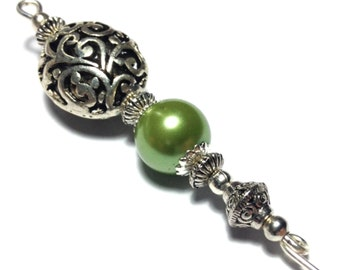 """5"""" Green Glass Pearl Hat Pin Vintage Tibetan Antique Silver Style - With Pin Protector (HP3-20)"""