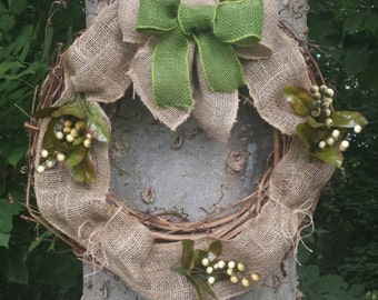 Grapevine and Burlap Wreath. Front Door Decor. Floral Wreath. Home Decor. Wall Decor.