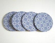 Blue Tile Pattern Coaster Set - Antique Blue Coasters - Vintage Style Coaster Set - Drink Coasters - Blue and White Coasters - Cottage Decor