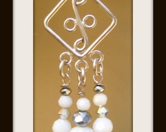 999 Fine Silver Ear wire, 999 Fine Silver Earring Component,  Solid White Crystals, Silver Metallic Crystals