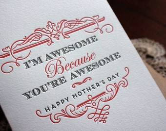 Letterpress Mother's Day Card - Awesome