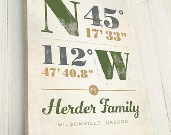 Housewarming Gift, Personalized Latitude and Longitude Coordinates, Canvas Wrapped on Wood Frame