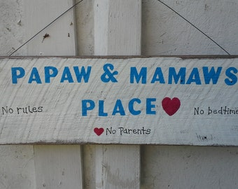 Papaw & Mamaws Place Wood Sign, Grandparents Gift, Gifts for Grandparents, New Grandparents Gift, Personalized Grandparents Gifts