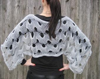 romantic clothing knit sweater women sweater gray  sweater  Light Gray Knitted Sweater, half length woman sweater, summer sweater