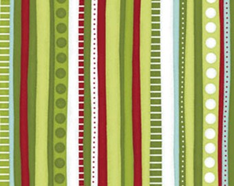 Half Yard Christmas Pure & Simple - Multi Stripe in Bamboo Green - Cotton Quilt Fabric - Nancy Halvorsen - Benartex -Pure and Simple (W1769)