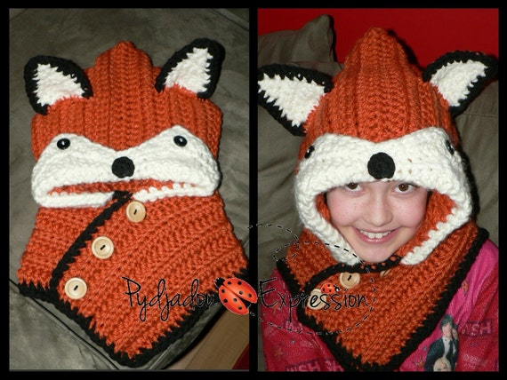Free Crochet Fox Cowl Hat Pattern : Items similar to CROCHET PATTERN-Fox Hooded Scarf (Child ...