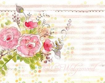 Roses No.3 - Watercolor - Artist Print - Digital
