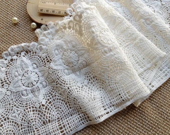 2 Yards White Crocheted Antique Lace Cotton Lace Trim Retro Design Lace 6.69 inches wide