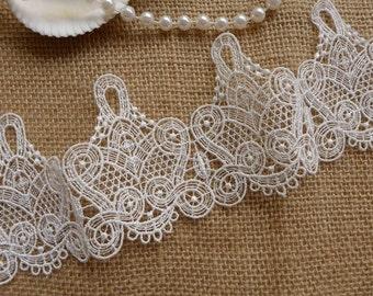 Exquisite Venise Lace Trim, Bridal White Lace, Crown Lace, Wedding Lace Applique, Altered Costumes
