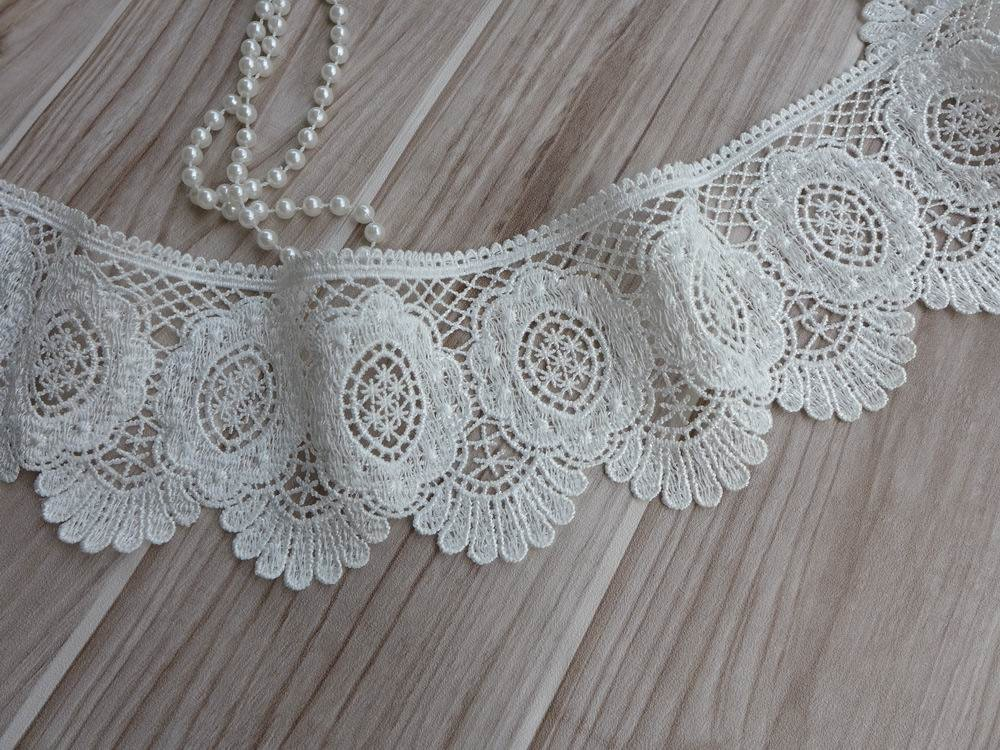 Off White Venise Lace Trim Embroidery Scalloped Lace For
