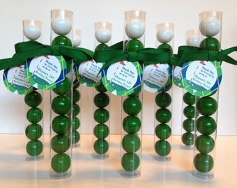 Top Golf Party Gumball Tube Golf  Party Favor, Set of 12, Personalized Golf Argyle Tags with grosgrain ribbon