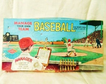 BASEBALL Board Game- Manage Your Own Team BASEBALL by Warren Built-Rite Games- Old Board Games- Colorful Graphics- Neat Vintage Decor Item !