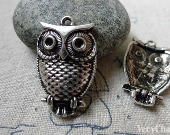 10 pcs of Antique Silver Owl Pendants Charms 18x28mm  A6337