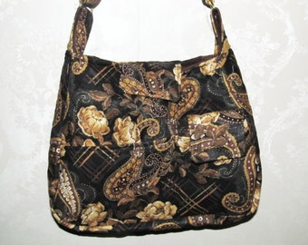Handmade Quilted Purse,  Black Gold Metallic  Paisley, Handbag, Quilted handbag, 261A