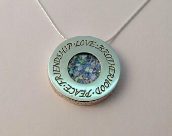 Peace Friendship Love Brotherhood Sterling Silver Blue Roman Glass Necklace