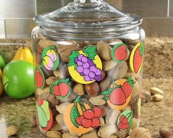 Farm Stand Fruits Glass Canister Glass Lid 128 oz #47593