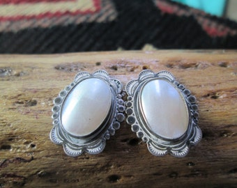 Pink Mother of Pearl and Sterling Post Earrings