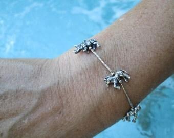 Sterling Silver Wild Animal Link Bracelet