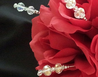 10 BOUQUET PICKS, DOUBLE Swarovski Crystals - Pick Your Color - 8 Inches Long, Bridal Bouquet Jewelry