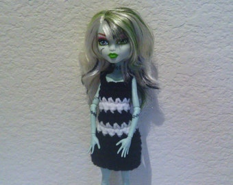 Fashion Doll Dress ©, Black and White Stripes, Cute, Hand Crocheted to fit a Monster High Doll (this is not a Mattel product)